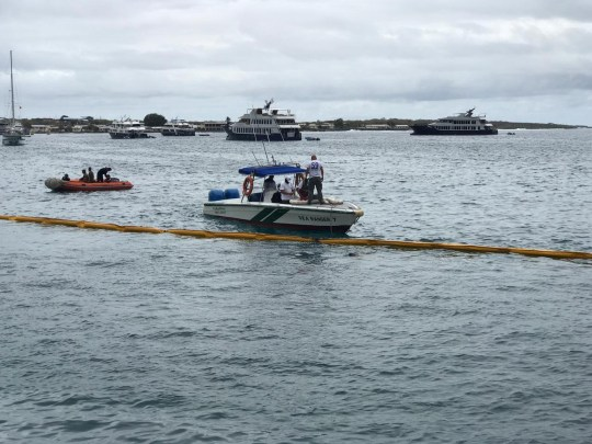 Barge carrying 600 gallons of diesel sinks in Galapagos