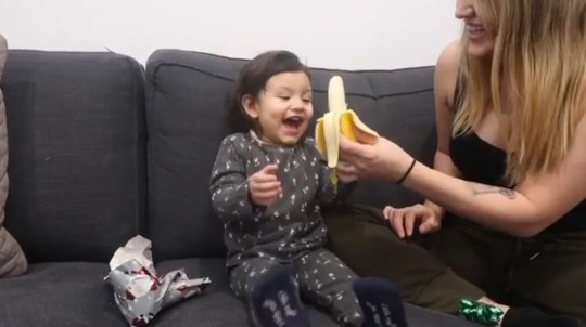Wholesome reaction of little girl who received a banana for Christmas