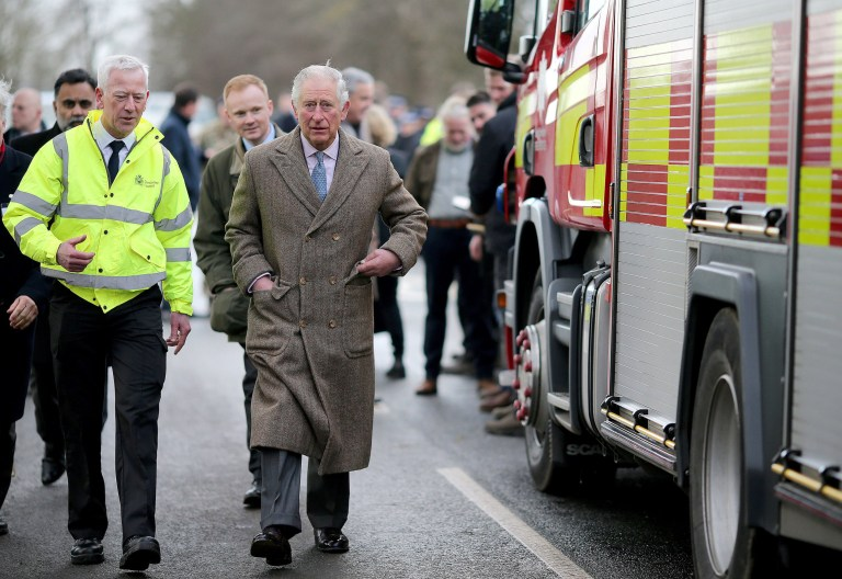 The Prince of Wales during a visit to Fishlake, in South Yorkshire, which was hit by floods earlier this year. PA Photo. Picture date: Monday December 23, 2019. A month's worth of rain fell in just 24 hours which left over 25 roads and four bridges closed and approximately 1,000 residential properties were flooded or became uninhabitable. See PA story ROYAL Charles. Photo credit should read: Nigel Roddis/PA Wire