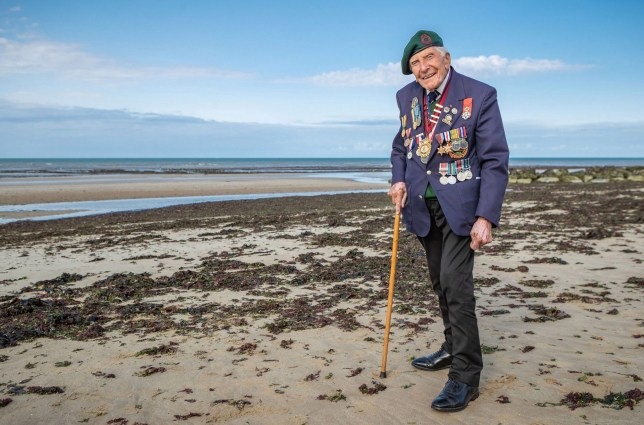 Embargoed to 2230 Friday December 27 Undated handout photograph issued by the Normandy Memorial Trust of veteran Harry Billinge in 2018 returning to Gold Beach where he landed on D-Day in 1944. He has received an MBE in the New Year Honours list. PA Photo. Issue date: Friday December 27, 2019. See PA story HONOURS Main. Photo credit should read: Normandy Memorial Trust/PA Wire NOTE TO EDITORS: This handout photo may only be used in for editorial reporting purposes for the contemporaneous illustration of events, things or the people in the image or facts mentioned in the caption. Reuse of the picture may require further permission from the copyright holder.