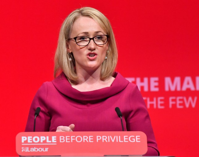 Mandatory Credit: Photo by Anthony Harvey/REX (10422469au) Rebecca Long Bailey, Labour's Shadow Secretary of State for Business speech during the Labour party conference Labour Party Conference, Day 4, Brighton, UK - 24 Sep 2019