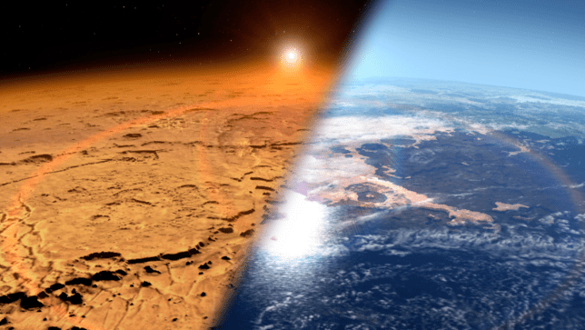 The worst of times and the best of times: Mars as it is now compared to its glorious past (Image: Nasa)