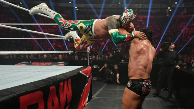 Sin Cara hits dive on Drew McIntyre on Raw