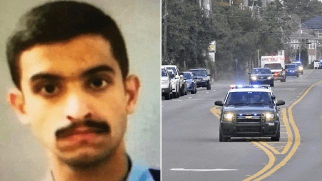 Photo of Pensacola shooter Mohammed Saeed Alshamrani next to photo of sheriff's deputies racing to scene of shooting