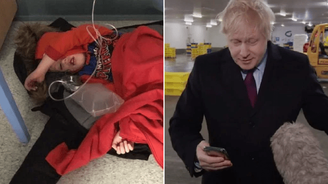 Boris takes reporter's phone after being shown picture of boy sleeping on hospital floor