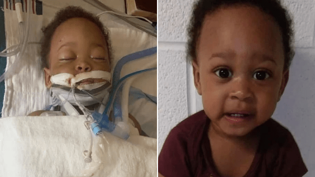Photo of Viston Stevenson in hospital next to photo of him before he was injured