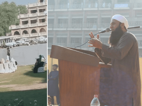 Female students forced to sit behind fence for ex-cricket star's speech