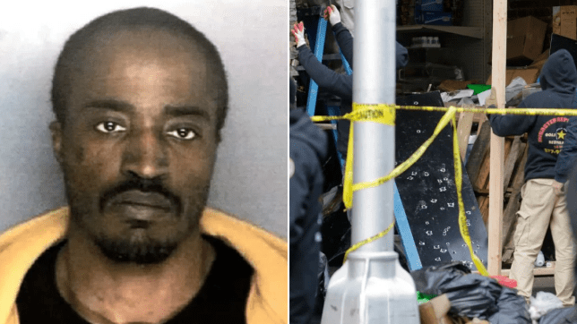 Old mugshot of New Jersey shooter David Anderson next to photo of JC Kosher Supermarket being examined by forensics teams