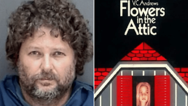 Mugshot of Jason Carlile next to cover of Flowers in the Attic