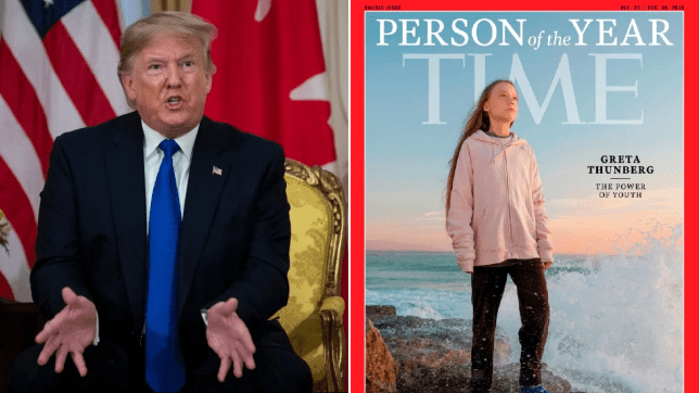 Photo of Donald Trump next to Greta Thunberg's Time person of the year cover