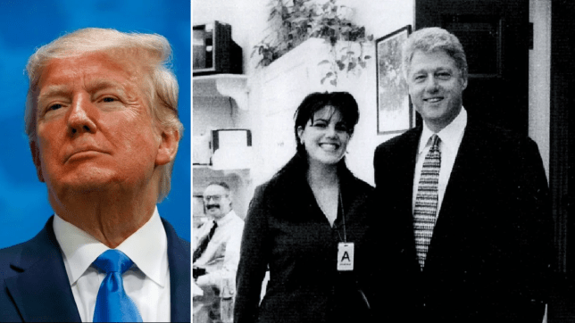 Photo of Donald Trump next to file photo of Bill Clinton and Monica Lewinsky