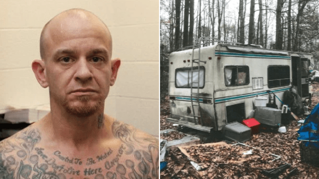 Mugshot of Raymond Harry next to photo of RV where he raped victim