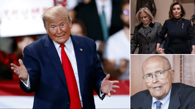 Photo of Donald Trump next to photo of Debbie Dingell and Nancy Pelosi above photo of John Dingell