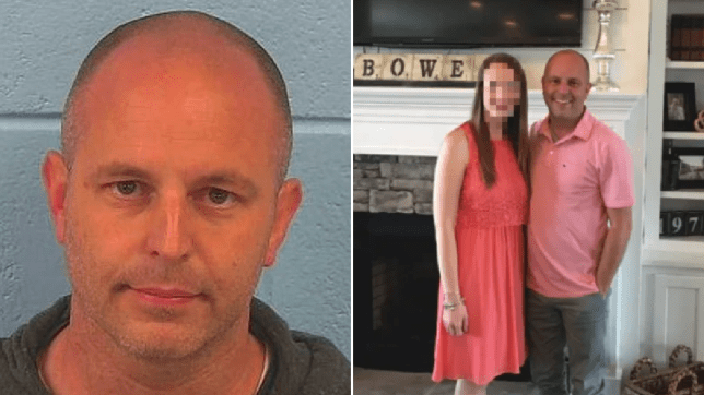 Mugshot of Acton Bowen next to old photo of him posing with with wife Ashley