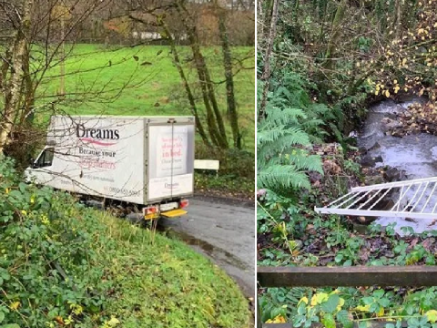 Dreams driver accused of 'fly-tipping bed frame' in stream