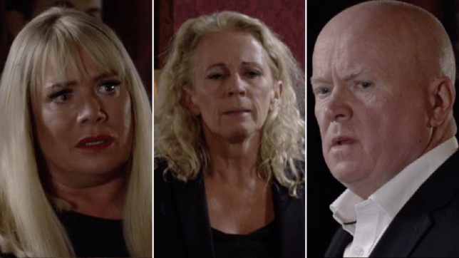 Sharon Mitchell, Lisa Fowler and Phil Mitchell in EastEnders