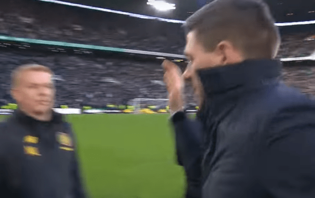 Steven Gerrard slapped Neil Lennon's hand after Rangers' victory at Celtic Park
