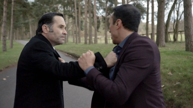 Graham tackles Jai in Emmerdale