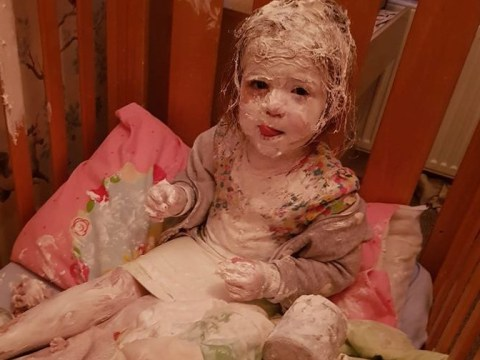 Two-year-old girl needs seven baths in one day after sneaking Sudocream into her cot and caking herself in it