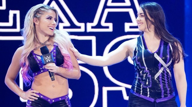WWE SmackDown wrestlers Alexa Bliss and Nikki Cross make their entrance