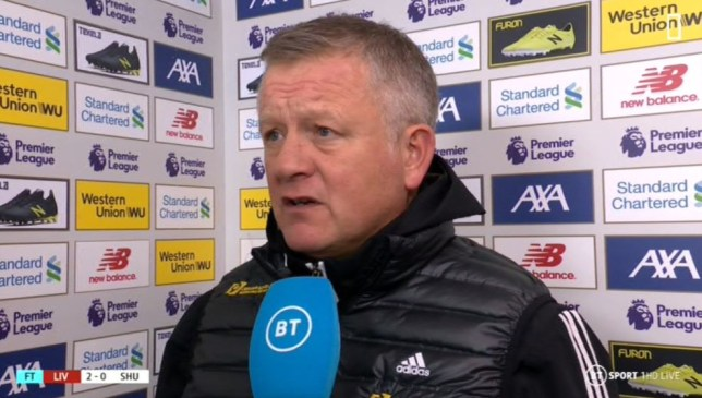 Chris Wilder was full of praise for Liverpool after Sheffield United's defeat at Anfield