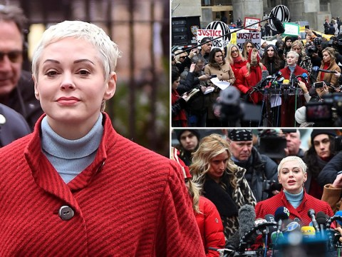 Rose McGowan addresses Harvey Weinstein outside court ahead of rape trial: 'You only have yourself to blame'