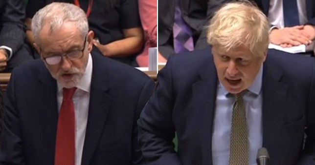 Jeremy Corbyn (left) and Boris Johnson at PMQs on 15/01/2020