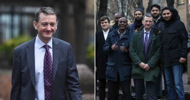 James Farrar, head of the United Private Hire Drivers' branch of the IWGB union, outside Southward Crown Court with members of Uber