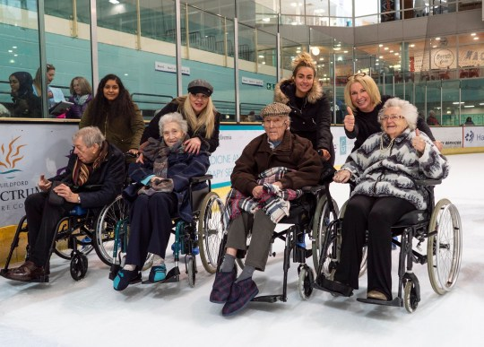 Old people given their wish to go ice skating for the day