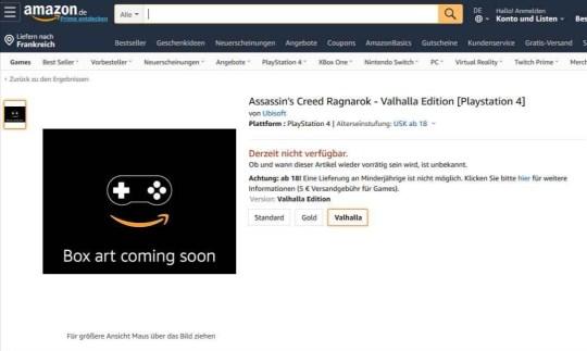 Assassin's Creed Ragnarok Amazon listing