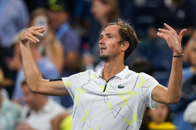 Daniil Medvedev of Russia reacts to the booing crowd after defeating Dominik Koepfer of Germany in their Round Four Men's Singles tennis match during the 2019 US Open at the USTA Billie Jean King National Tennis Center in New York on September 1, 2019.