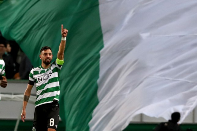 Bruno Fernandes celebrates scoring a goal for Sporting Lisbon