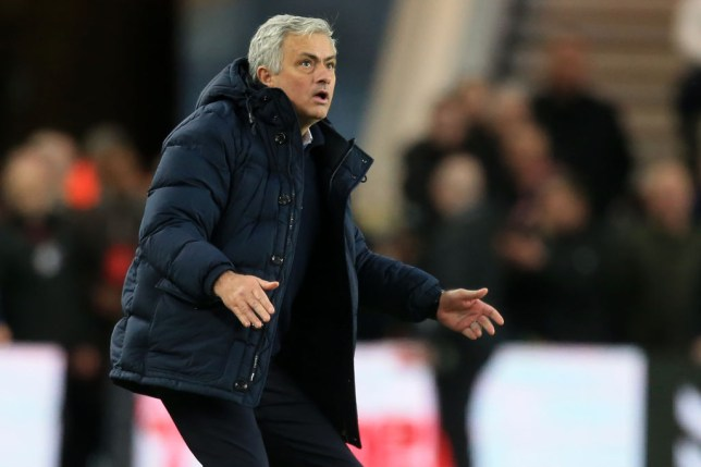 Jose Mourinho looks stunned on the touchline during a Tottenham game