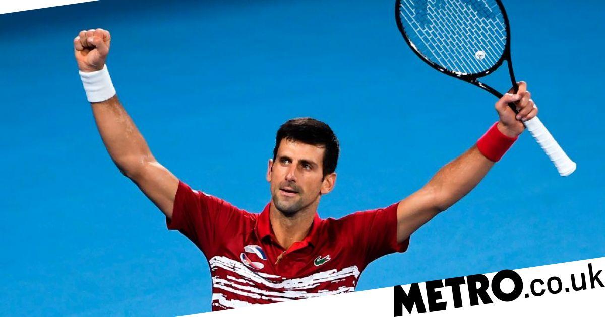 Novak Djokovic reacts after Serbia beat Rafael Nadal's Spain to win ATP Cup