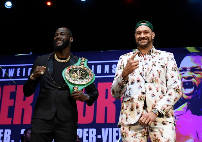 Tyson Fury and Deontay Wilder pose ahead of their heavyweight boxing rematch