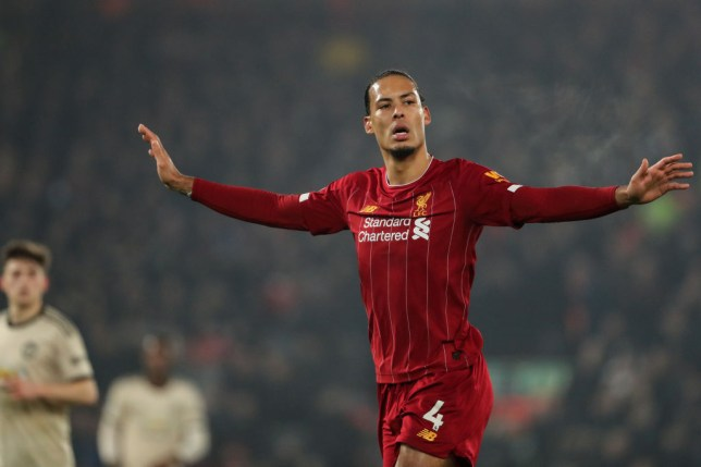 Liverpool defender Virgil van Dijk reacts during Liverpool's win over Manchester United
