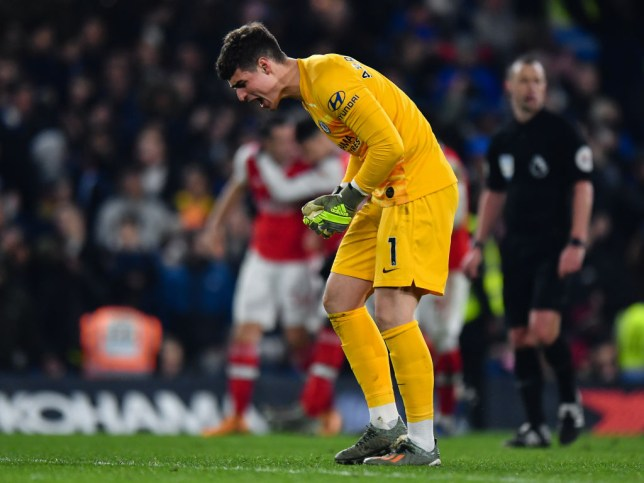 Chelsea goalkeeper Kepa Arrizabalaga concedes against Arsenal