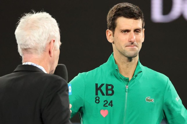 Serbia's Novak Djokovic gets emotional as he talks about Kobe Bryant after winning the men's singles quarter-final match against Canada's Milos Raonic on day nine of the Australian Open tennis tournament in Melbourne on January 28, 2020.
