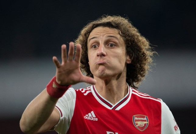 David Luiz issues orders to his Arsenal team-mates during a game