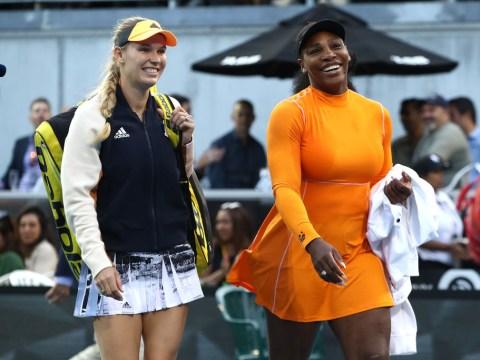 Serena Williams and Caroline Wozniacki react after advancing in Auckland doubles and singles