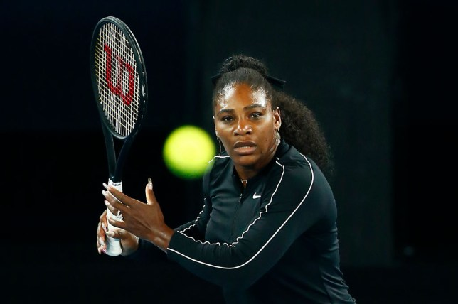 Serena Williams hits a forehand ahead of the Australian Open