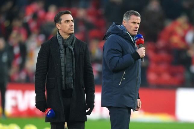 Manchester United hero Gary Neville stands alongside Liverpool legend Jamie Carragher