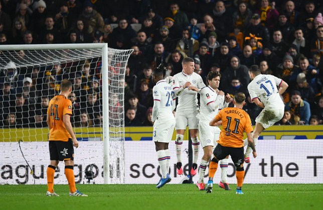 Kamil Grosicki's free-kick deflected in off Chelsea midfielder Mateo Kovacic during the FA Cup fourth-round tie