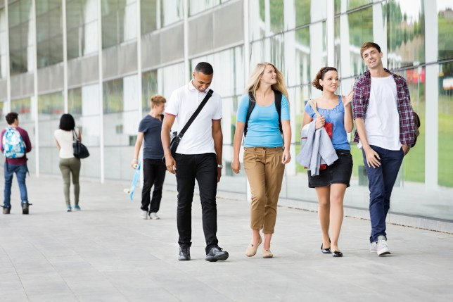 Students on a college campus