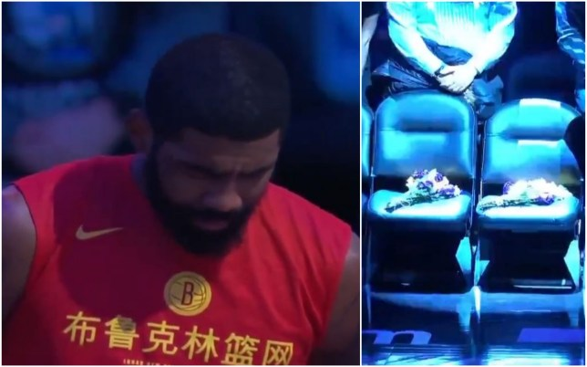 Kyrie Irving was in tears as the Brooklyn Nets paid their tribute to Kobe Bryant
