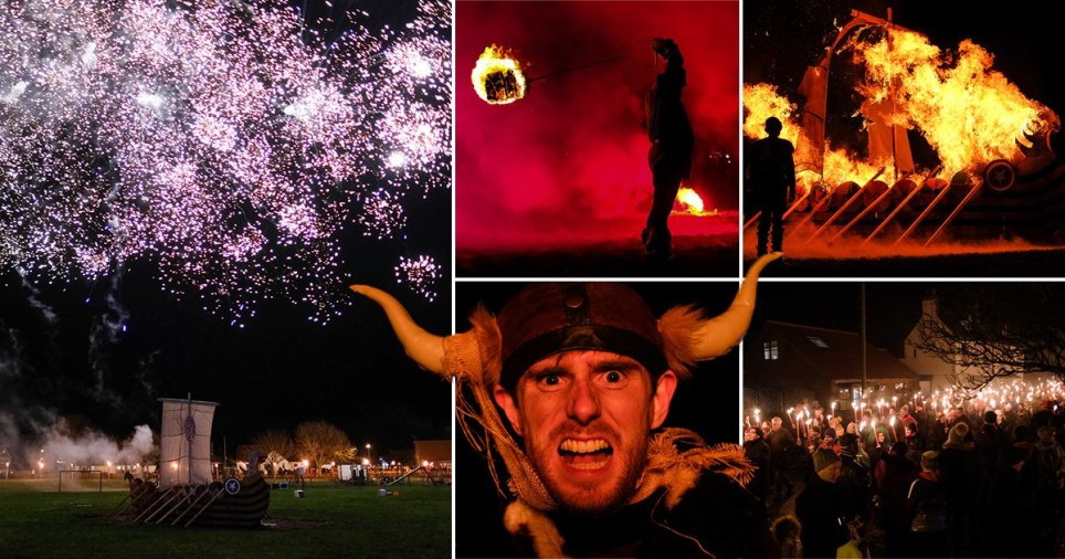 British 'Vikings' celebrate new year with flaming torches and burning longship