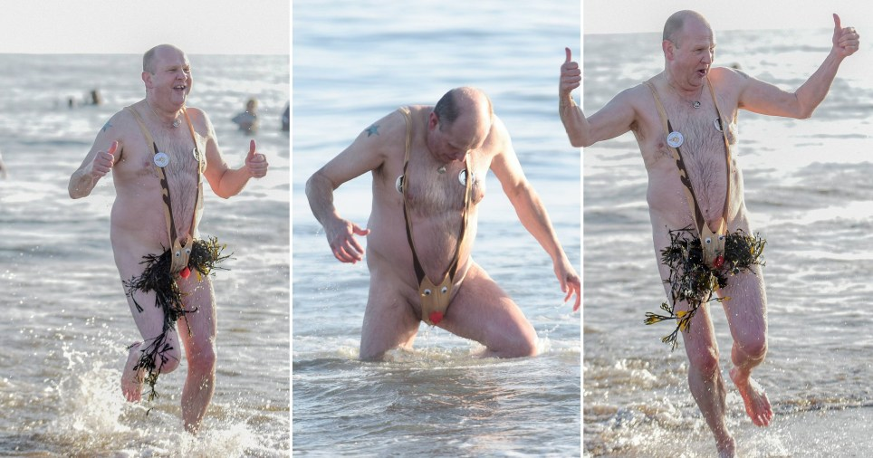 A swimmer braving the North Sea at Whitley Bay, North Tyneside, in a Rudolph mankini on New Year's Day