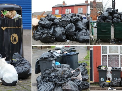 Bags of rubbish pile up in street after binmen call in sick at Christmas
