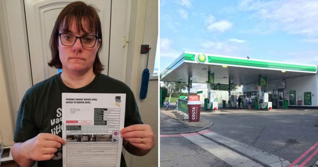 Terri Akers was sent a fine after dropping a friend off while filling up her car last month