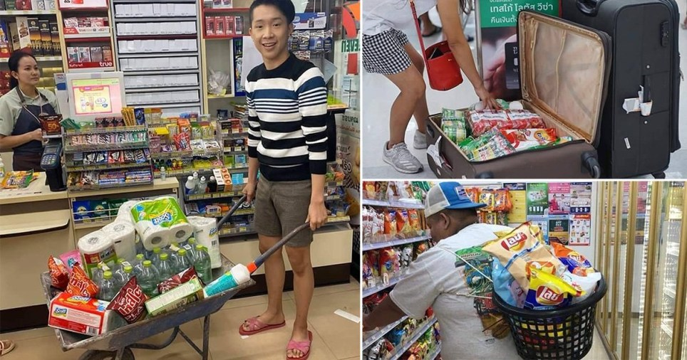 Shoppers in Thailand using trolleys, baskets and other unusual items after major chains stop providing plastic bags